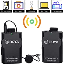 Boya JSD Pro's BYWM4 2.4GHz Wireless Lavalier Lapel Mic System Support Real-time Monitor with Hard Case for Canon Nikon Sony DSLR Camera Camcorder (Black)