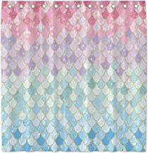 Allenjoy 72x72 Inch Mermaid Scales Shower Curtain for Bathroom Sets Ocean Under The Sea Pink and Blue Girl Home Bath Decor...