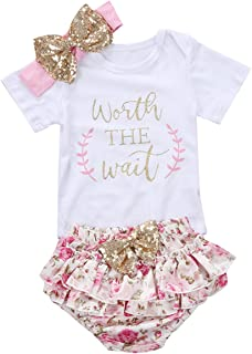 3PCS Baby Girls Short Sleeve Cotton Letters Bodysuit Top + Floral Shorts Headband Set Outfit