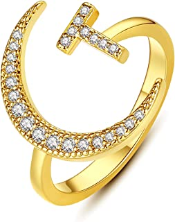 Hobt Initial Letter Ring Crescent Moon Ring 14K Gold Plated CZ Alphabet A-Z Adjustable Ring for Women Girls