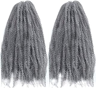 LE SECRET 2 Packs Synthetic Afro Kinky Curly Braids Hair Extentions 18 Inch Kinky Curly Kanekalon Synthetic Twist Crochet Braiding Hair for Women and Girls (1B#WHITE,100g/Pack)