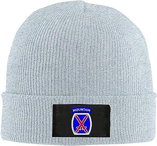 WQJ 10th Mountain Division Knitted Beanie Hat, Unisex Cuffed Plain Skull Knit Hat Cap