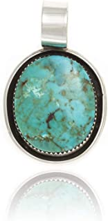 $100Tag Silver Certified Navajo Native American Natural Turquoise Necklace 12909-2 Made by Loma Siiva