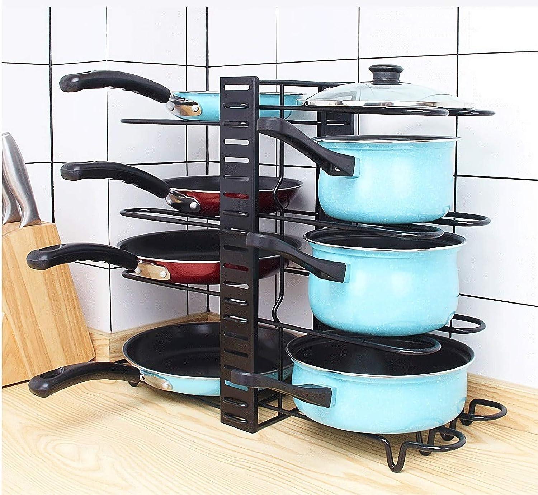 soporte para sartenes 8 niveles Old Tjikko Soporte multifunci/ón para sartenes ajustable soporte para tapa de ollas estante de cocina f/ácil de montar y limpiar
