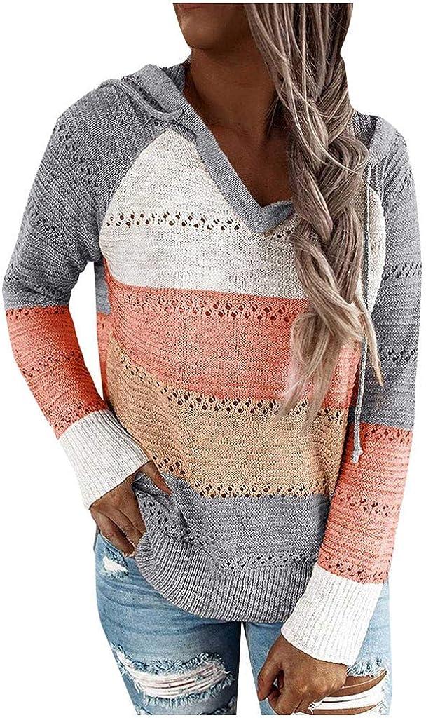 Yesgirl Sweat /À Capuche Femme Manches Longues Pull /À Capuche Mode Patchwork Hoodie Chandail V Neck Sweat Shirt Automne Tops en Tricot/é Casual Pullover Sportwear