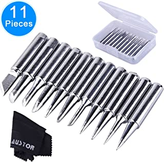 AUSTOR 11 Pieces Soldering Iron Tips Kit 900M-T and 1 Piece Cleaning Cloth with Free Box for Hakko Soldering Station Tool 900M 936 937 907