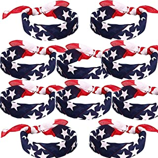 Envysun 10 pieces American Flag Bandanas Headband USA Flag Headband 100% Cotton Bandanas USA Apparel USA Clothing Bandana Patriotic Accessories