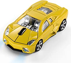 BKLNOG Sports Car Mouse [Updated] with LED Headlights, 1600 DPI Wireless Car Shaped Mouse for Mac & Computers, Yellow