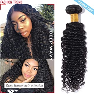 S-noilite Brazilian Deep Wave Human Hair Bundle Unprocessed Deep Wavy Remy Human Hair Bundle for Women #1B Natural Black 1 Bundle Total 100g/3.5oz 8 Inch Deep Curly Human Hair Extension