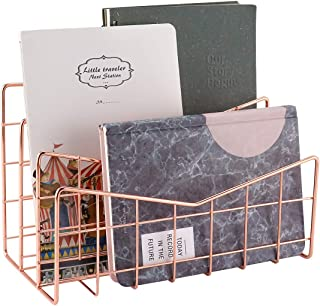 MORIGEM Mail Organizer, 3-Slot Mail Holder, Mail Desk Organizer for Mails, Letters, Books, Postcards and More, Mail Sorter Rose Gold