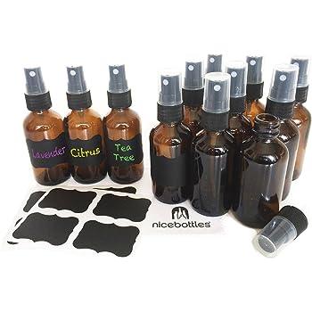 Glass Spray Bottles, 2 Oz Amber Boston Round with Fine Mist Sprayer & Chalkboard Labels - Pack of 12