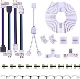 Uhomely Kit de conector de tira LED de 5 pines, 10 mm, 5050 RGBW, incluye cable de extensión de 9.8 pies, puente de tira a tira, puente de tira a potencia, divisor de 2 vías, conector en forma de L