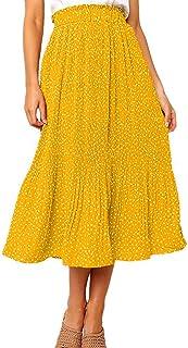 Kcsev Women's Polka Dot Midi Skirts Casual High Elastic...