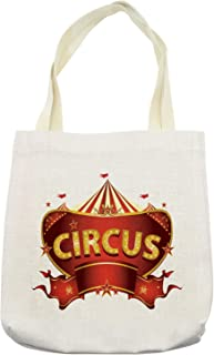 Ambesonne Circus Tote Bag, Circus Sign Baroque Style Big Top Enjoyment Theme Marquee Nightlife Retro, Cloth Linen Reusable Bag for Shopping Books Beach and More, 16.5
