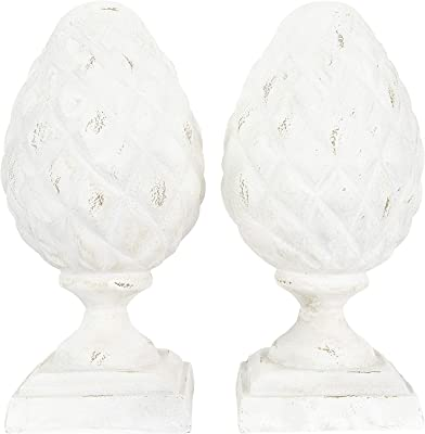 Creative Co-op Resin Pinecone Finial Bookends, White