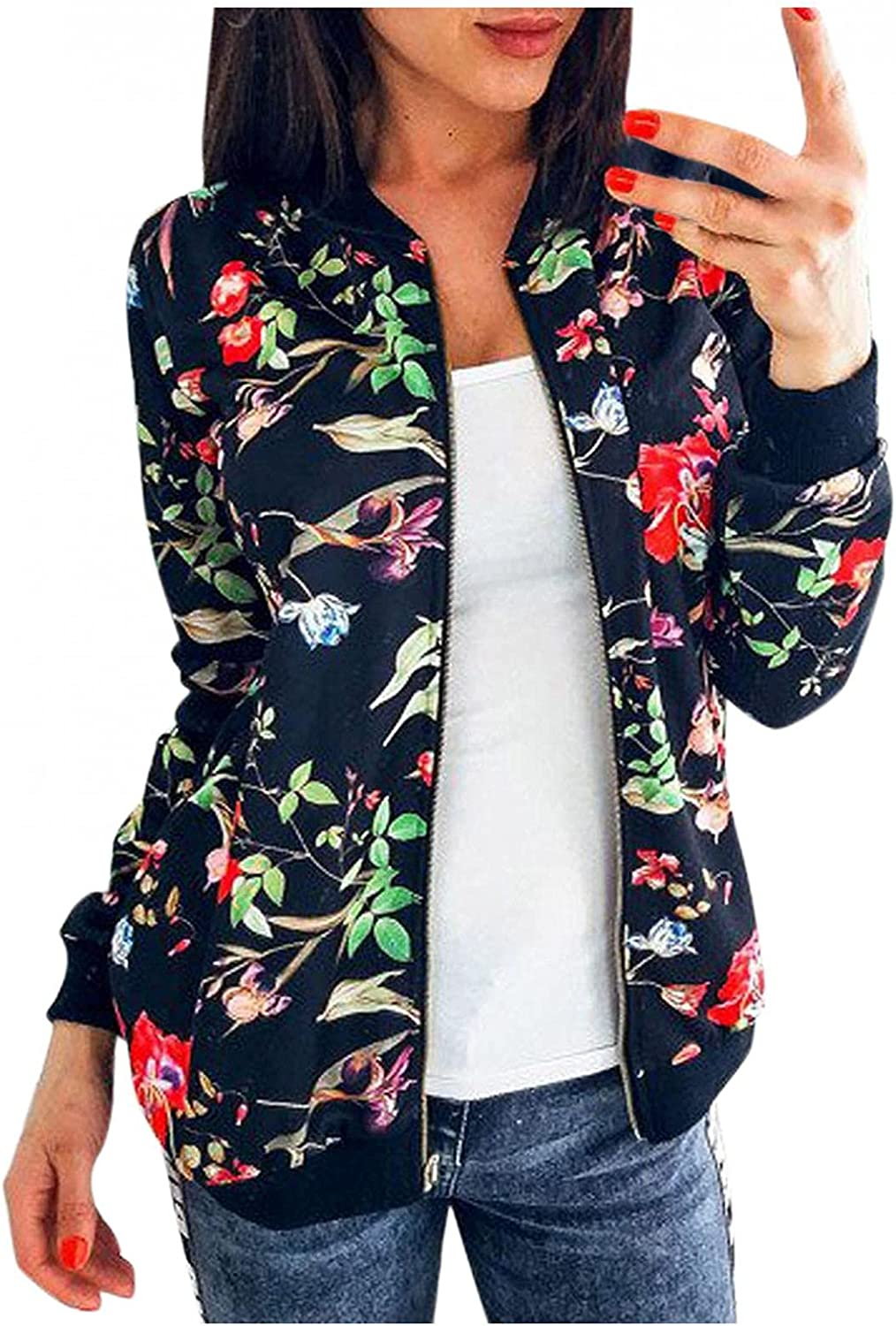 Womens Casual Zip Up Jackets Long Sleeve Floral Print Baseball Bomber Jacket Stand Collar Short Outwear Coat Tops
