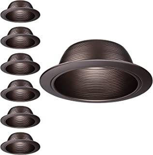 TORCHSTAR 6-Pack 6 Inch Recessed Can Light Trim, Oil Rubbed Bronze Metal Step Baffle Trim, for PAR30, PAR38, BR30, BR40 Light Bulb & 6 Inch Recessed Light Can, Fit Halo/Juno Remodel Recessed Housing