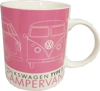 VW Volkswagen Taza de porcelana, color rosa