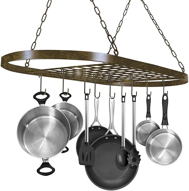 Sorbus Pot And Pan Rack For Ceiling With Hooks Decorative Oval Mounted Storage Rack Multi Purpose Organizer For Home Restaurant Kitchen Cookware Utensils Books Household Rustic