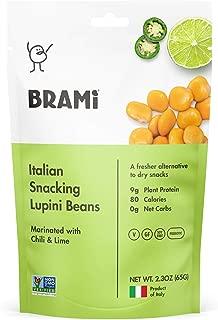 BRAMI Lupini Beans Snack, Chili & Lime | 9g Plant Protein, 0g Net Carbs | Vegan, Vegetarian, Keto, Mediterranean Diet | 2.3 oz (8 Pack)