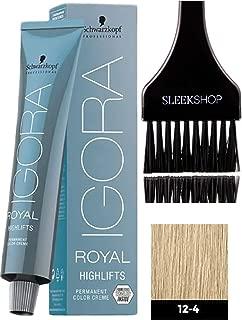 Schwarzkopf IGORA Royal HIGHLIFTS Permanent Hair Color Creme (with Sleek Tint Applicator Brush) Haircolor Cream (12-4 Special Blonde Beige)