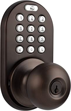 MiLocks TKK-02OB Digital Door Knob Lock with Electronic Keypad for Interior Doors, Oil Rubbed Bronze