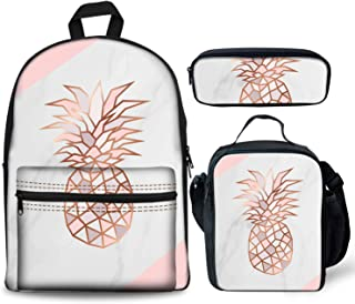Rose Gold Pineapple On Pink And White Marble Backpacks Set 3 Pieces Lunch Bag Pen Pencil Case for Kids Back to School Lightweight Daypack for Boys Girls