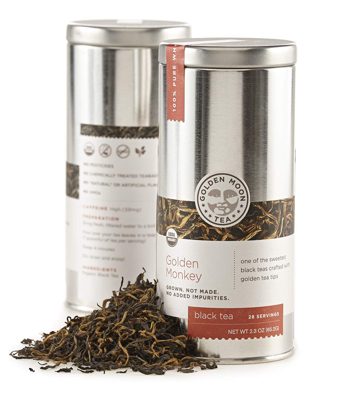 Golden Moon Organic Black Tea Non-GM Monkey Leaf Complete Free Shipping Loose - Selling