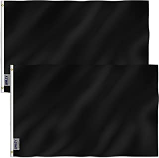 Anley Pack of 2 Fly Breeze 3x5 Foot Solid Black Flag - Vivid Color and UV Fade Resistant - Canvas Header and Double Stitched - Plain Black Flags Polyester with Brass Grommets 3 X 5 Ft