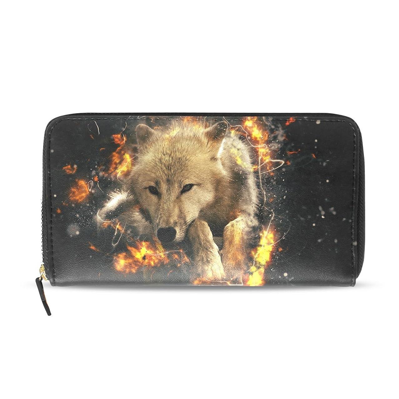 無知息苦しいスリルAOMOKI 長財布 財布 レディース 大容量 PUレザー 幅20*丈11cm ホワイト 狼