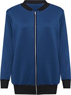 a5d7473f5 Nauvelle New Womens Plus Size Bomber Jacket Basic Plain Ribbed Varsity Top  14-28