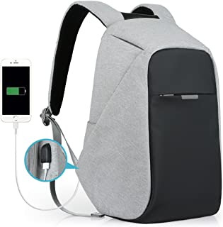 Oscaurt Anti-theft Travel Backpack, Business Laptop School Bookbag with USB Charging Port, Water Resistent Bag for Men & Women Fit 15.6 Inches Laptop Grey
