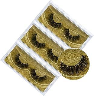 3D Natural Handmade Faux Mink False Eyelashes,Fake Lashes Pack of 3 (Natural Look)
