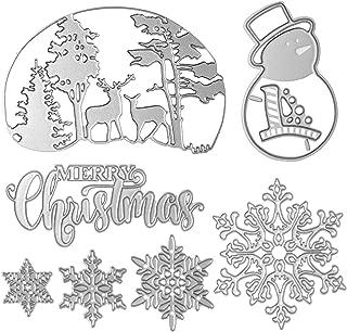 Merry Christmas Cutting Dies Set Xmas Snowman Snowflake Tree Dies Cuts Metal Stencil Template for DIY Scrapbook Album Paper Card Making Craft Decoration