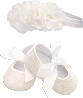 Light Ivory Lace Baptism Christening Shoe and Headband Set for Baby Girl (Size 1)