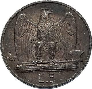 1927 IT 1927 ITALY King Victor Emmanuel III AR 5 Lire Ita coin Good Uncertified