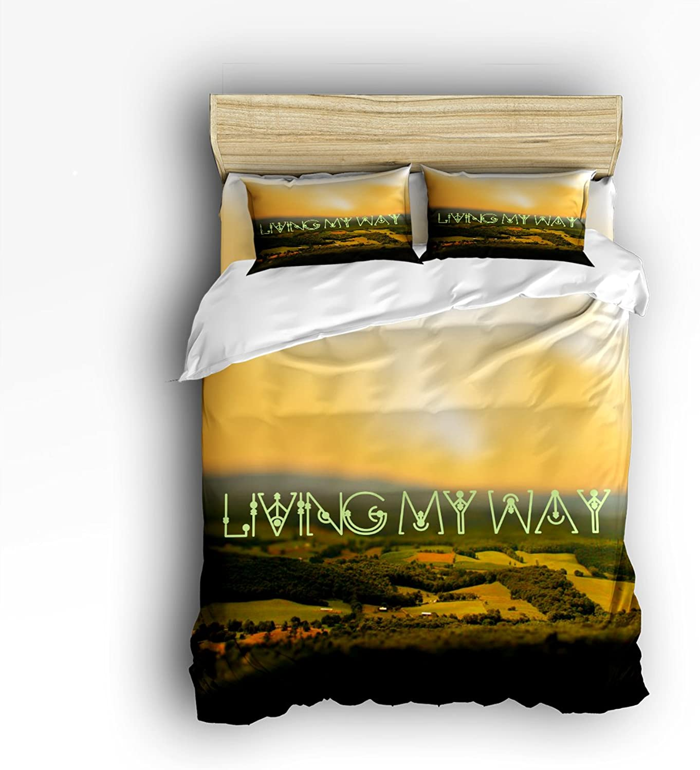 Libaoge 4 Piece Bed Sheets Set, Living My Life with Panoramic View of Village, 1 Flat Sheet 1 Duvet Cover and 2 Pillow Cases
