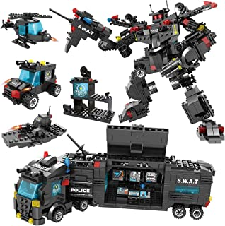 Alapa DS-700-P  City Police Mobile Command Center Truck Building Toy, Robot and Fighter Patrol Cars with Guns Construction Toys for Kids Boys and Girls Aged 6 to 12 (700 Pieces)