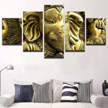 WLHRJ 5 Panel Wall Art Golden elephant Painting The Picture Print On Canvas For Home Decoration Gift Piece Stretched By Wooden Frame Ready To Hang 150cm(W) x 100cm(H)