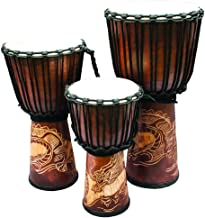 "New Djembe Standard linecarv, 24"" tall, 12"" head, NK190 Dragon"