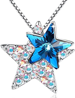 GEMMANCE Star Necklace Sapphire Blue 3D Star Pendant Jewelry Made with Swarovski Crystals Silver Tone Gifts for Her