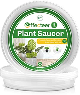 EFFECTEER Plant Saucer, 5 Pack, 12 inch, Round Plant Trays for Indoors, Clear Plastic Plant Pot Saucers, Durable Flower Po...