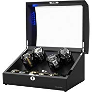 New Designed Watch Winder for 10 Automatic Watches,Built-in LED Illumination,Wood Shell Piano...