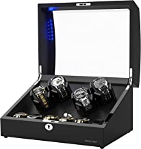 New Designed Watch Winder for 10 Automatic Watches,Built-in LED Illumination,Wood Shell Piano Paint Japanese Exterior and Extremely Silent Motor, with Soft Flexible Watch Pillow