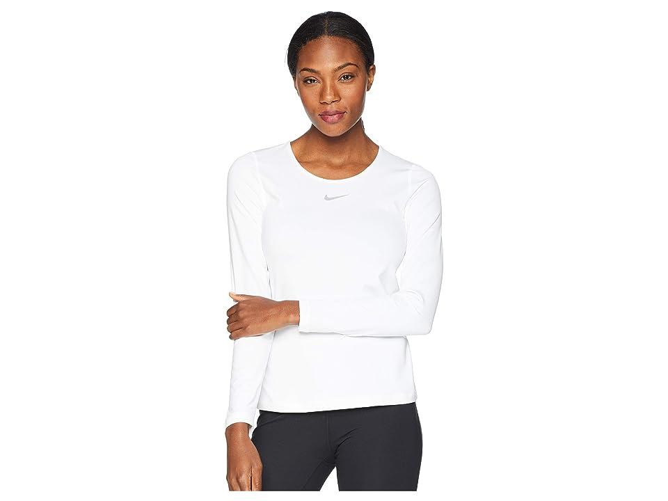 Nike Pro Warm Crew Top (White/Wolf Grey) Women