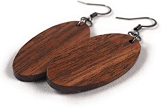 Fractal Woodworks Wooden Wide Oval Dangle Earrings from Sustainable Walnut Wood. Hypoallergenic. Made in USA.