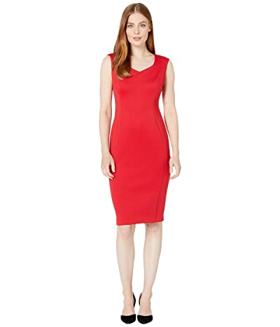 Calvin Klein Sweetheart Neck Sheath Dress (Red) Women