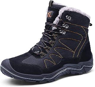 WYZDQ Bottes de Neige d'hiver Hommes Chaussures Chaudes fourrées imperméable résistant Sneakers Casual Anti-Slip,Noir,US7....
