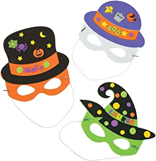 Fun Express - Halloween Hat Mask ck for Halloween - Craft Kits - Apparel Craft Kits - Hat & Mask - Halloween - 12 Pieces