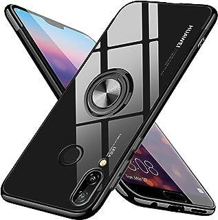 Huawei nova Lite 3 ケース リング クリア TPU ソフトシェル 透明 薄型 リング付き 耐衝撃 指紋防止 スタンド機能 車載ホルダー 360回転 3D Touch対応 おしゃれ 軽量 携帯カバーブラック